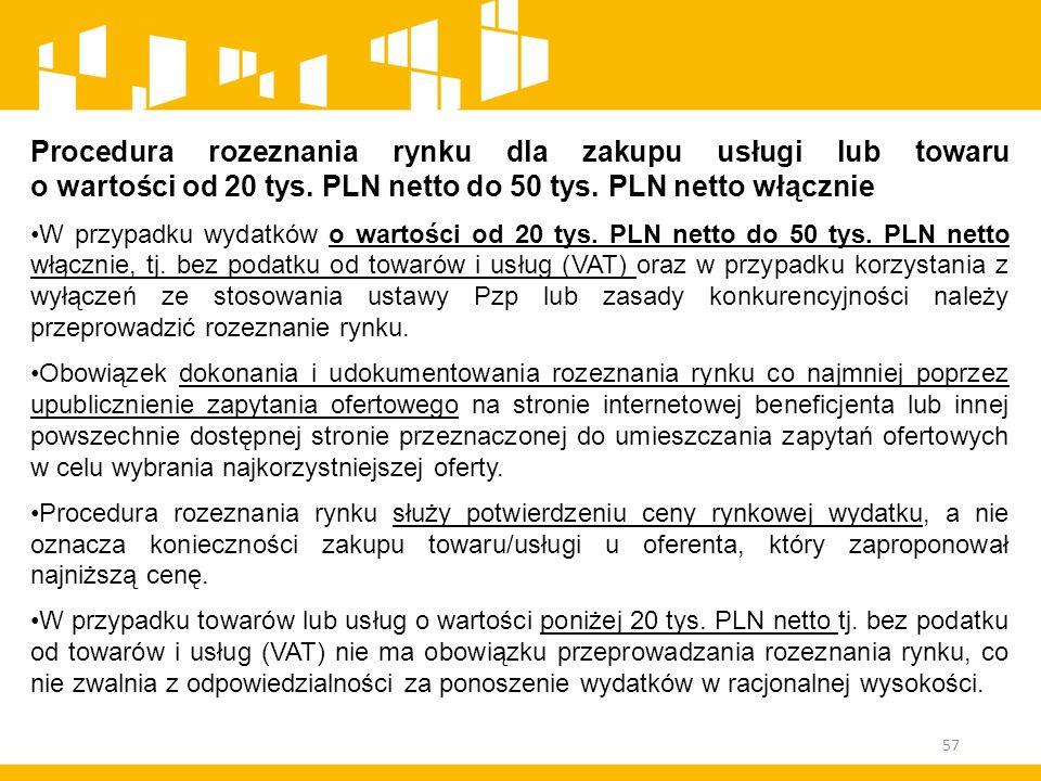 Procedura rozeznania rynku dla zakupu usługi lub towaru o wartości od 20 tys. PLN netto do 50 tys. PLN netto włącznie W przypadku wydatków o wartości