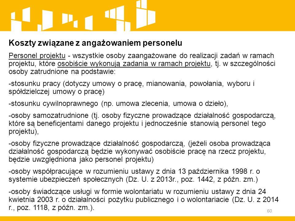 Koszty związane z angażowaniem personelu Personel projektu - wszystkie osoby zaangażowane do realizacji zadań w ramach projektu, które osobiście wykon