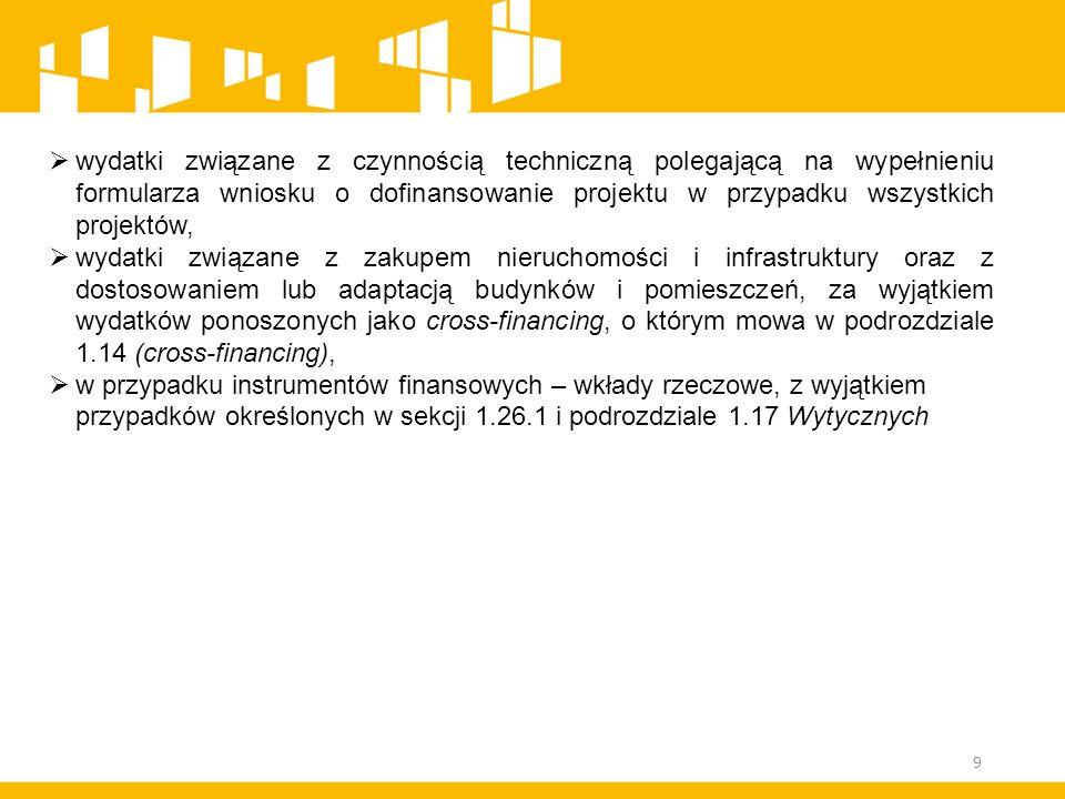  wydatki związane z czynnością techniczną polegającą na wypełnieniu formularza wniosku o dofinansowanie projektu w przypadku wszystkich projektów, 