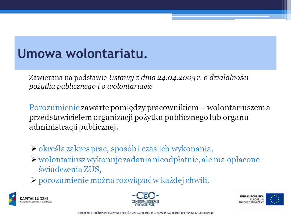 Umowa wolontariatu. Zawierana na podstawie Ustawy z dnia 24.04.2003 r.