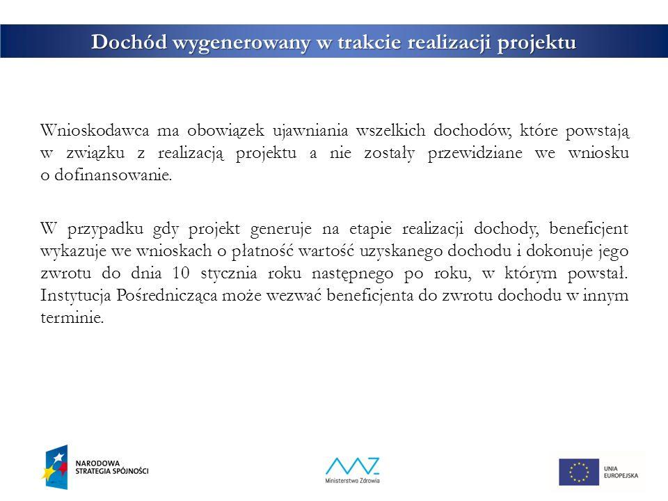 29 Dochód wygenerowany w trakcie realizacji projektu Wnioskodawca ma obowiązek ujawniania wszelkich dochodów, które powstają w związku z realizacją projektu a nie zostały przewidziane we wniosku o dofinansowanie.