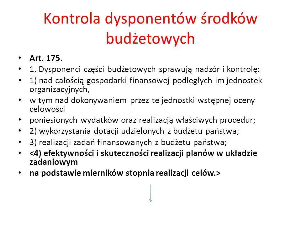 Kontrola dysponentów środków budżetowych Art. 175.