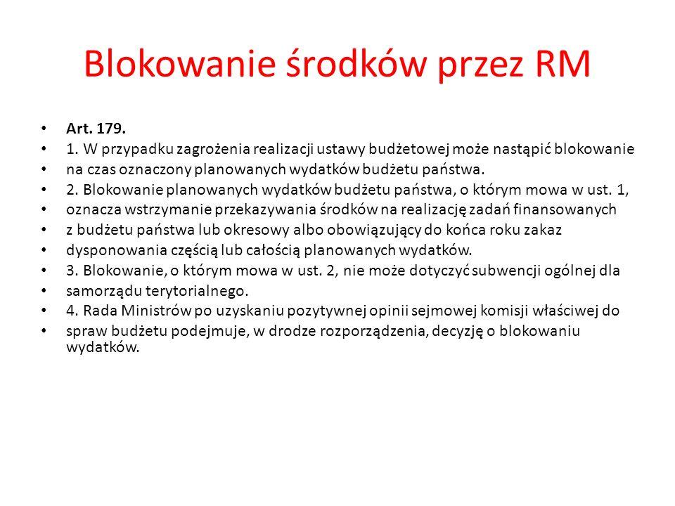 Blokowanie środków przez RM Art. 179. 1.