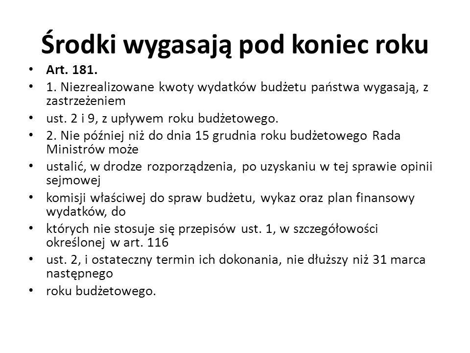 Środki wygasają pod koniec roku Art. 181. 1.