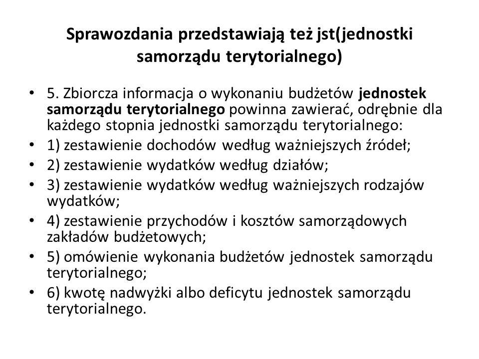 Sprawozdania przedstawiają też jst(jednostki samorządu terytorialnego) 5.