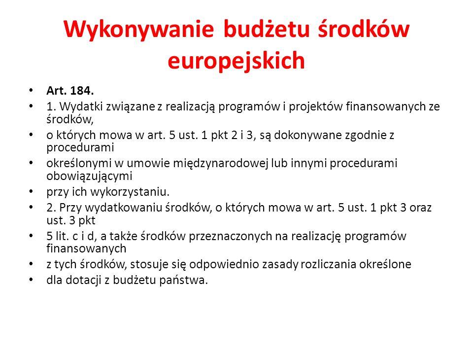 Wykonywanie budżetu środków europejskich Art. 184.