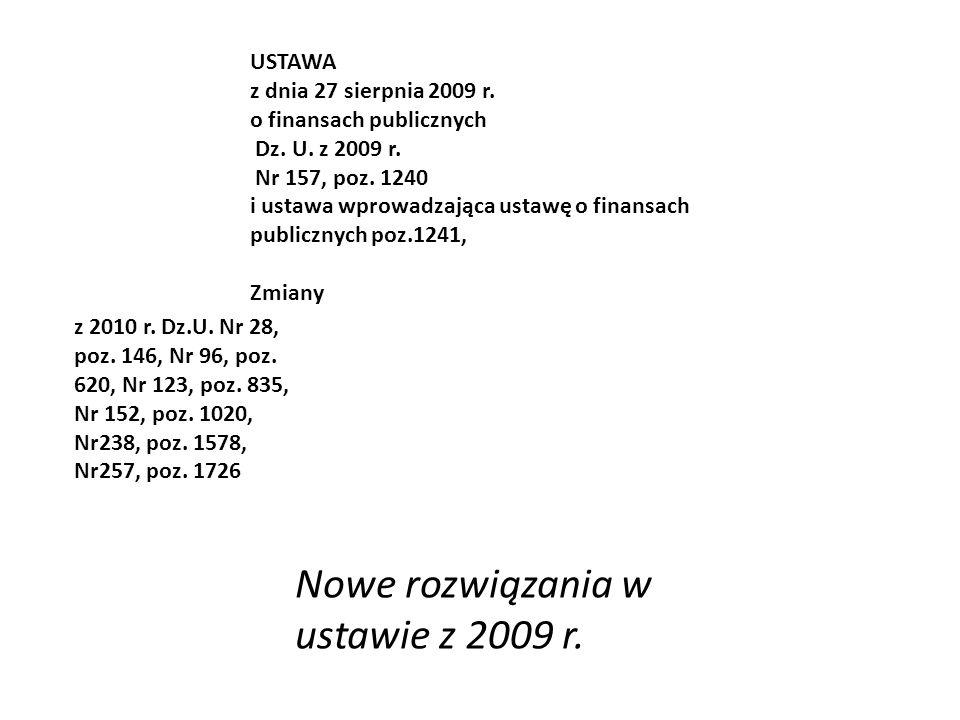 USTAWA z dnia 27 sierpnia 2009 r. o finansach publicznych Dz.