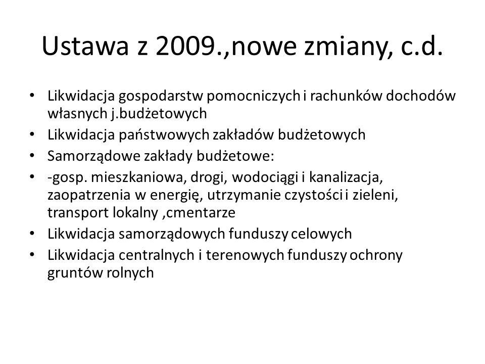 Ustawa z 2009.,nowe zmiany, c.d.