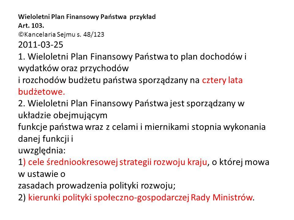 Wieloletni Plan Finansowy Państwa przykład Art. 103.