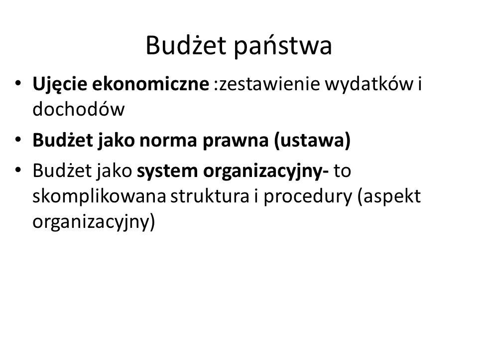 Budżet państwa Ujęcie ekonomiczne :zestawienie wydatków i dochodów Budżet jako norma prawna (ustawa) Budżet jako system organizacyjny- to skomplikowana struktura i procedury (aspekt organizacyjny)