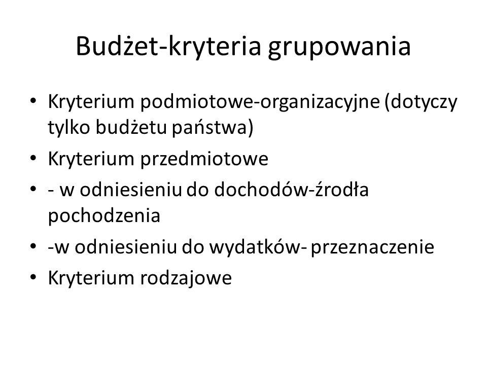 Budżet-kryteria grupowania Kryterium podmiotowe-organizacyjne (dotyczy tylko budżetu państwa) Kryterium przedmiotowe - w odniesieniu do dochodów-źrodła pochodzenia -w odniesieniu do wydatków- przeznaczenie Kryterium rodzajowe