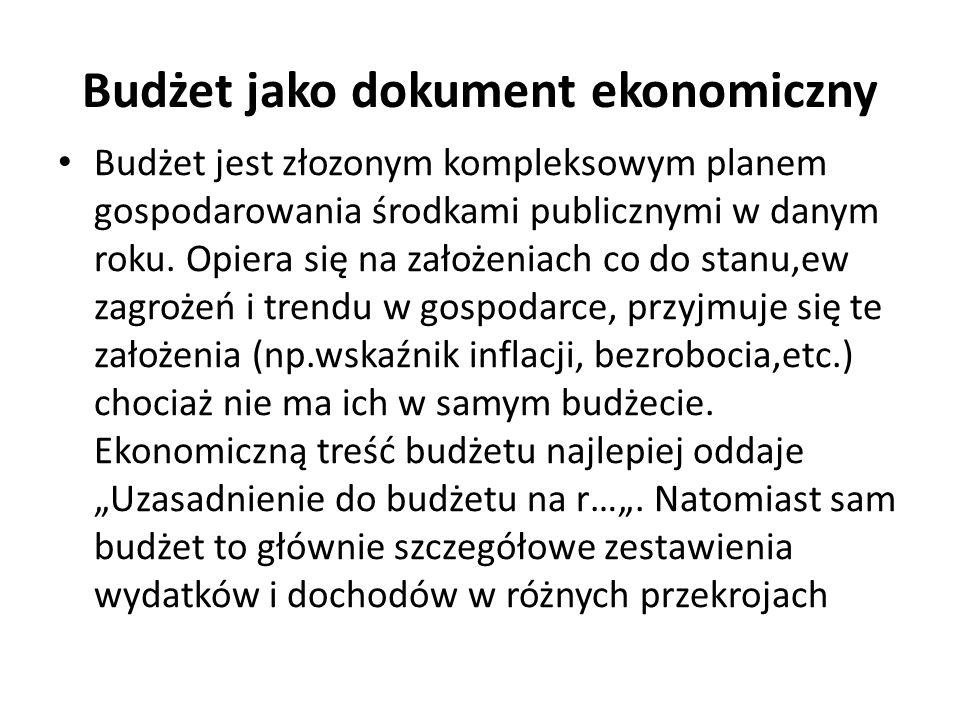 Budżet jako dokument ekonomiczny Budżet jest złozonym kompleksowym planem gospodarowania środkami publicznymi w danym roku.