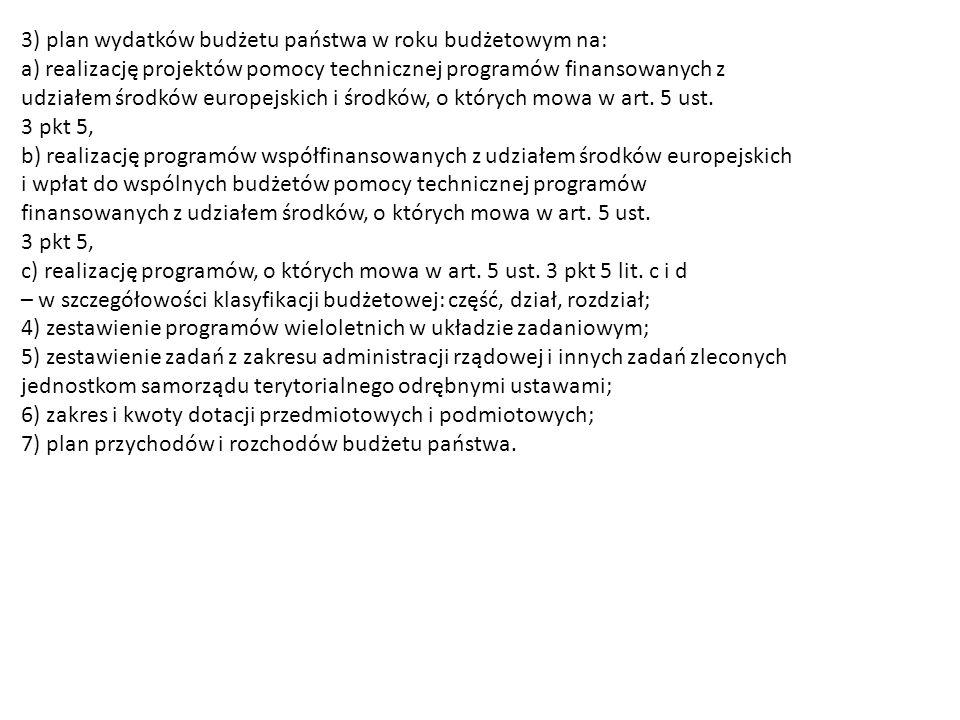 3) plan wydatków budżetu państwa w roku budżetowym na: a) realizację projektów pomocy technicznej programów finansowanych z udziałem środków europejskich i środków, o których mowa w art.