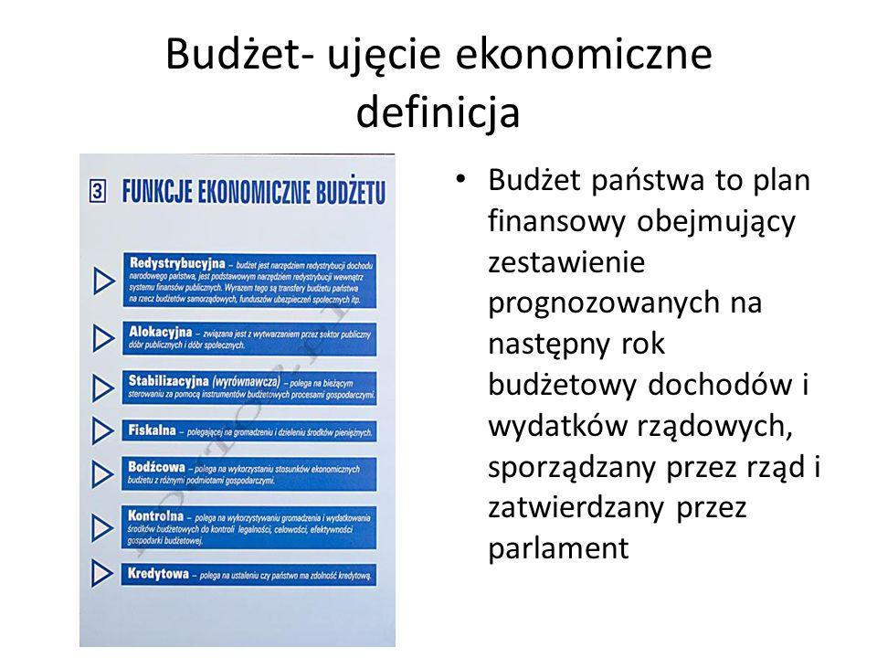 Budżet- ujęcie ekonomiczne definicja Budżet państwa to plan finansowy obejmujący zestawienie prognozowanych na następny rok budżetowy dochodów i wydatków rządowych, sporządzany przez rząd i zatwierdzany przez parlament