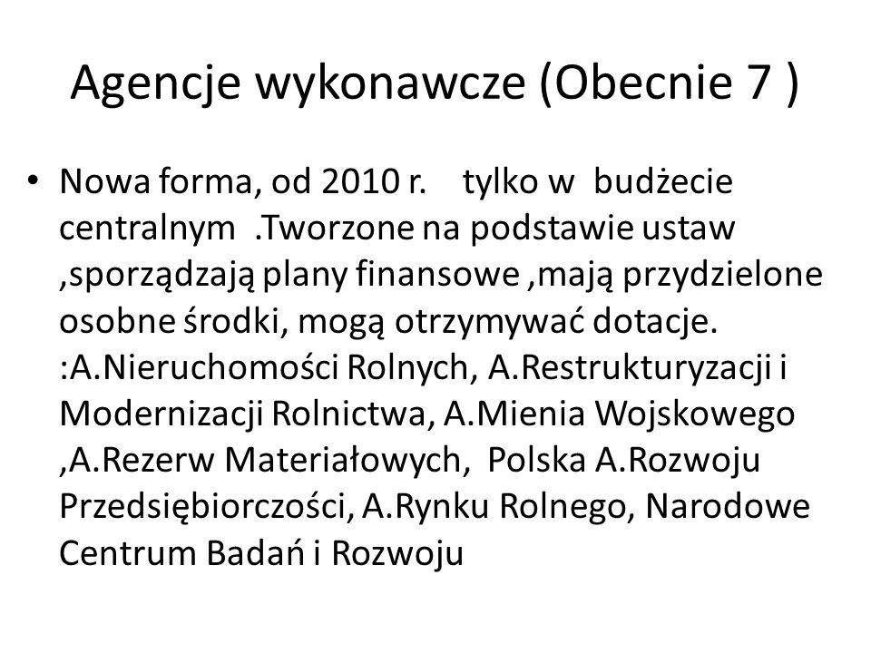 Agencje wykonawcze (Obecnie 7 ) Nowa forma, od 2010 r.