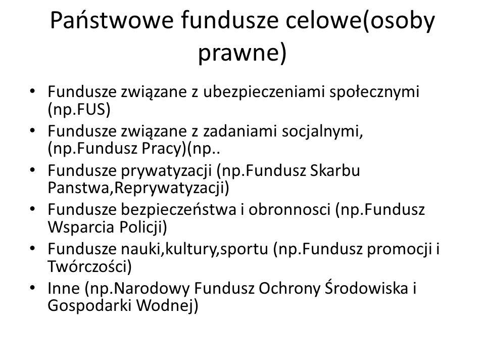 Państwowe fundusze celowe(osoby prawne) Fundusze związane z ubezpieczeniami społecznymi (np.FUS) Fundusze związane z zadaniami socjalnymi, (np.Fundusz Pracy)(np..
