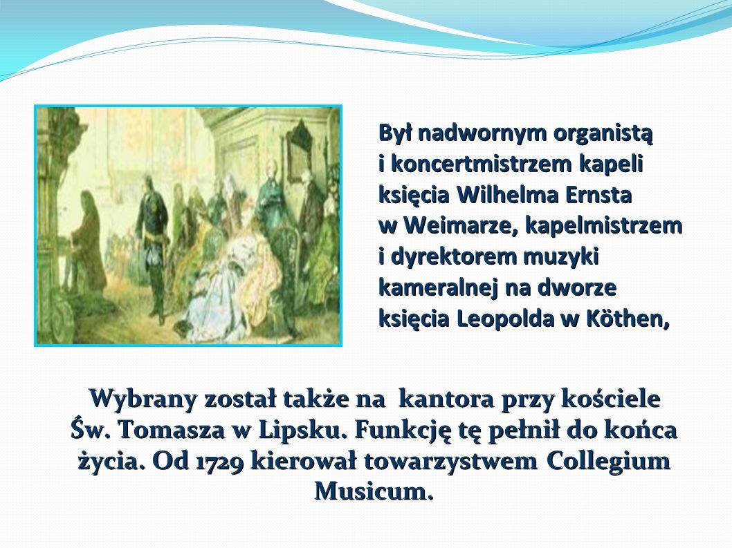 Był nadwornym organistą i koncertmistrzem kapeli księcia Wilhelma Ernsta w Weimarze, kapelmistrzem i dyrektorem muzyki kameralnej na dworze księcia Leopolda w Köthen, Wybrany został także na kantora przy kościele Św.