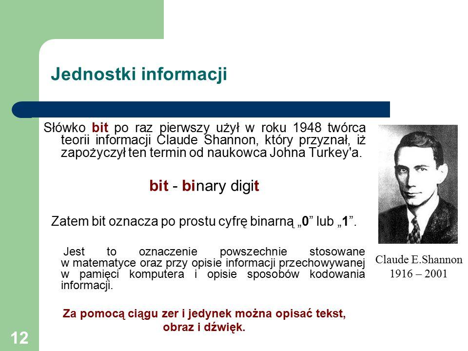 12 Jednostki informacji Słówko bit po raz pierwszy użył w roku 1948 twórca teorii informacji Claude Shannon, który przyznał, iż zapożyczył ten termin od naukowca Johna Turkey a.