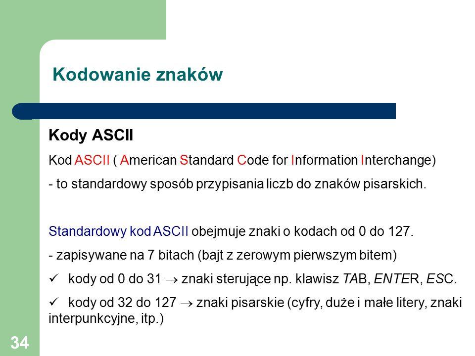 34 Kodowanie znaków Kody ASCII Kod ASCII ( American Standard Code for Information Interchange) - to standardowy sposób przypisania liczb do znaków pisarskich.
