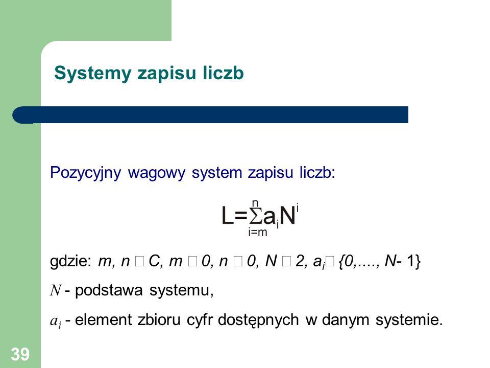 39 Systemy zapisu liczb Pozycyjny wagowy system zapisu liczb: gdzie: m, n  C, m  0, n  0, N  2, a i  {0,...., N- 1} N - podstawa systemu, a i - element zbioru cyfr dostępnych w danym systemie.