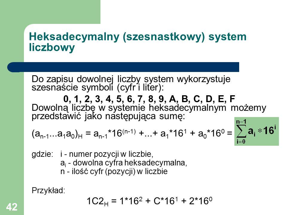 42 Do zapisu dowolnej liczby system wykorzystuje szesnaście symboli (cyfr i liter): 0, 1, 2, 3, 4, 5, 6, 7, 8, 9, A, B, C, D, E, F Dowolną liczbę w systemie heksadecymalnym możemy przedstawić jako następująca sumę: (a n-1...a 1 a 0 ) H = a n-1 *16 (n-1) +...+ a 1 *16 1 + a 0 *16 0 = gdzie: i - numer pozycji w liczbie, a i - dowolna cyfra heksadecymalna, n - ilość cyfr (pozycji) w liczbie Przykład: 1C2 H = 1*16 2 + C*16 1 + 2*16 0 Heksadecymalny (szesnastkowy) system liczbowy