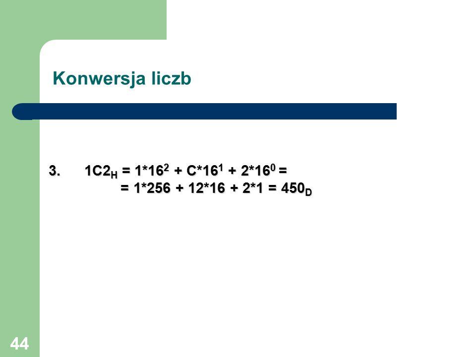 44 1C2 H = 1*16 2 + C*16 1 + 2*16 0 = = 1*256 + 12*16 + 2*1 = 450 D Konwersja liczb 3.