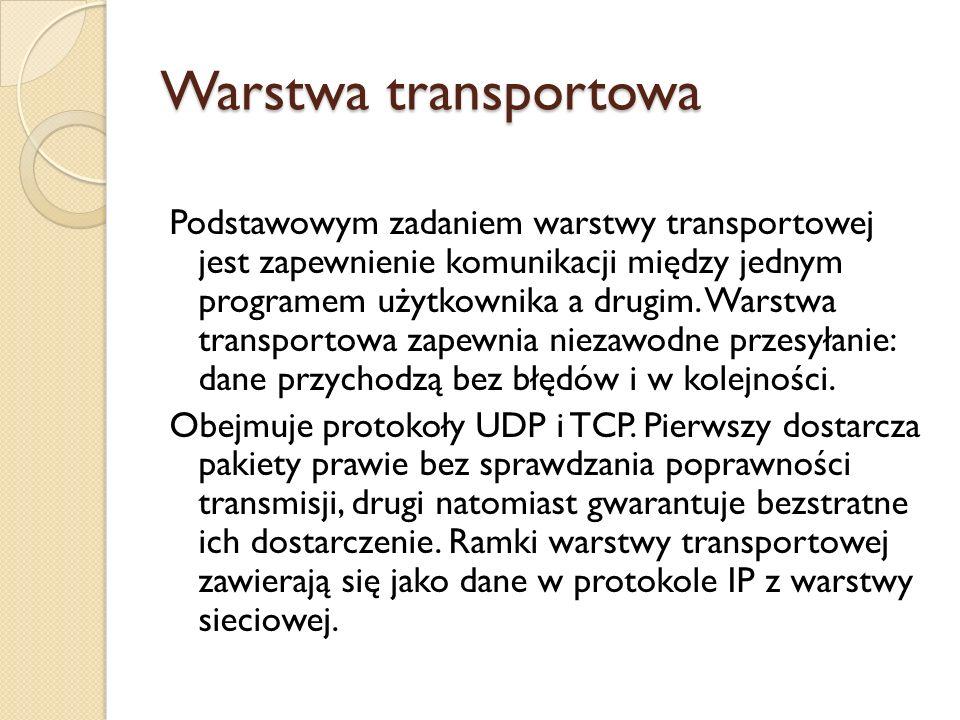 Warstwa transportowa Podstawowym zadaniem warstwy transportowej jest zapewnienie komunikacji między jednym programem użytkownika a drugim. Warstwa tra