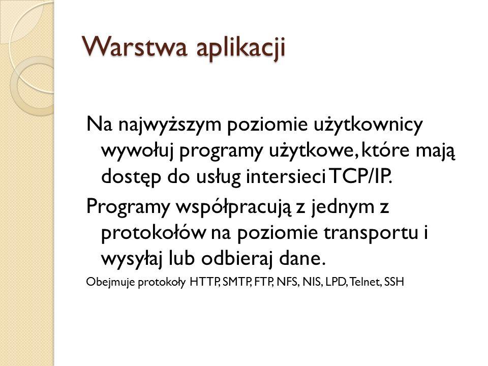 Warstwa aplikacji Na najwyższym poziomie użytkownicy wywołuj programy użytkowe, które mają dostęp do usług intersieci TCP/IP. Programy współpracują z