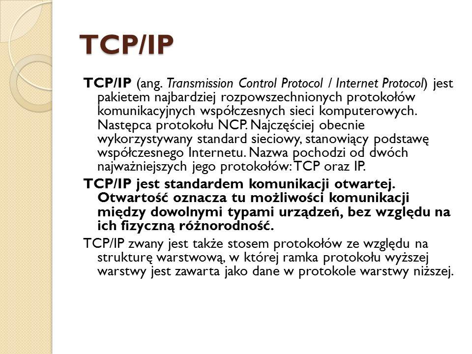 TCP/IP TCP/IP (ang. Transmission Control Protocol / Internet Protocol) jest pakietem najbardziej rozpowszechnionych protokołów komunikacyjnych współcz
