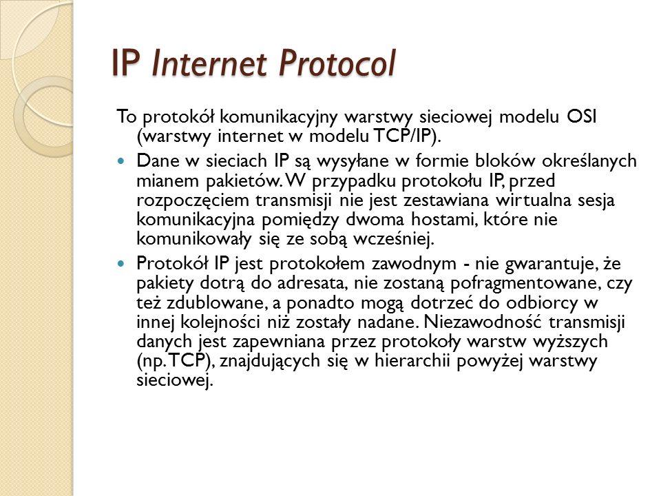 IP Internet Protocol To protokół komunikacyjny warstwy sieciowej modelu OSI (warstwy internet w modelu TCP/IP). Dane w sieciach IP są wysyłane w formi