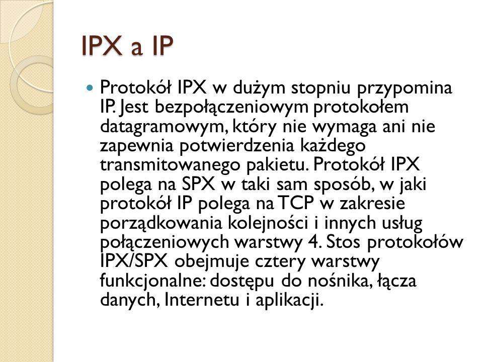 IPX a IP Protokół IPX w dużym stopniu przypomina IP. Jest bezpołączeniowym protokołem datagramowym, który nie wymaga ani nie zapewnia potwierdzenia ka