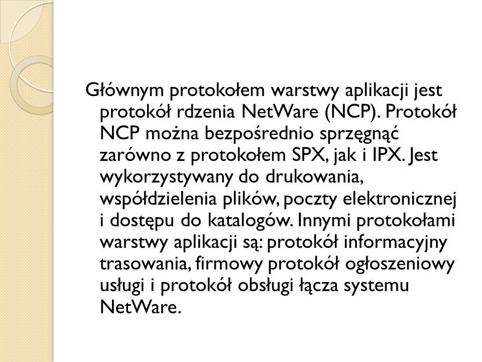 Głównym protokołem warstwy aplikacji jest protokół rdzenia NetWare (NCP). Protokół NCP można bezpośrednio sprzęgnąć zarówno z protokołem SPX, jak i IP