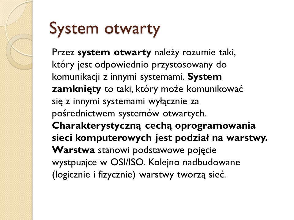 System otwarty Przez system otwarty należy rozumie taki, który jest odpowiednio przystosowany do komunikacji z innymi systemami. System zamknięty to t