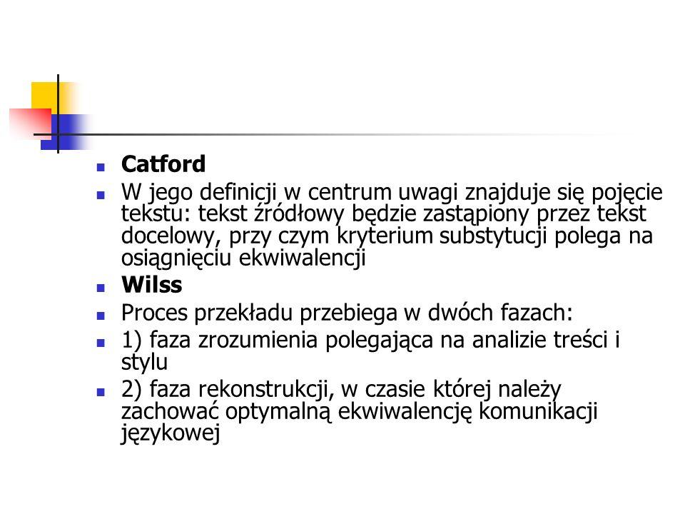Catford W jego definicji w centrum uwagi znajduje się pojęcie tekstu: tekst źródłowy będzie zastąpiony przez tekst docelowy, przy czym kryterium subst