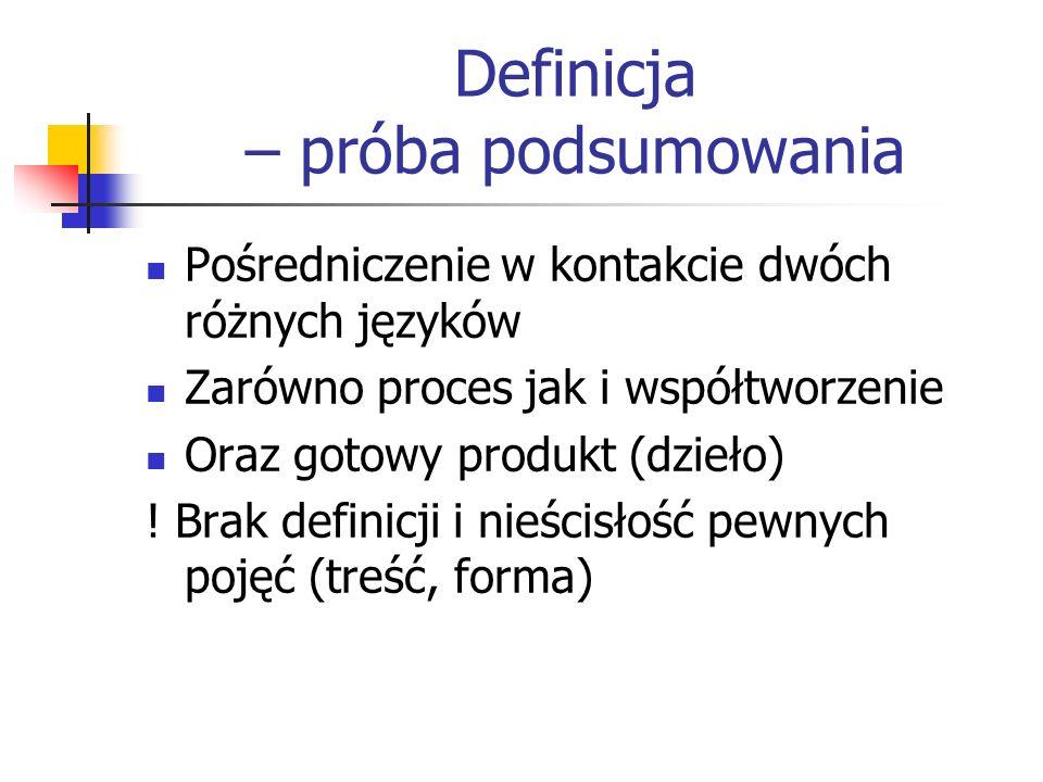Definicja – próba podsumowania Pośredniczenie w kontakcie dwóch różnych języków Zarówno proces jak i współtworzenie Oraz gotowy produkt (dzieło) ! Bra