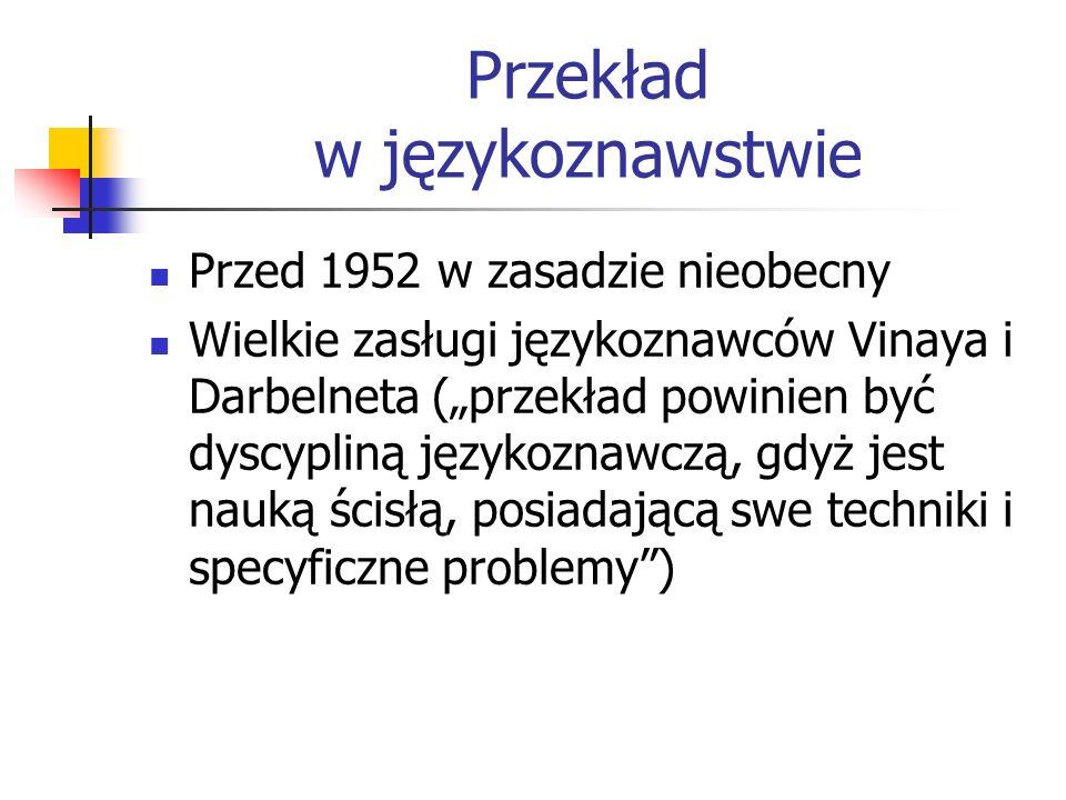 """Przekład w językoznawstwie Przed 1952 w zasadzie nieobecny Wielkie zasługi językoznawców Vinaya i Darbelneta (""""przekład powinien być dyscypliną języko"""
