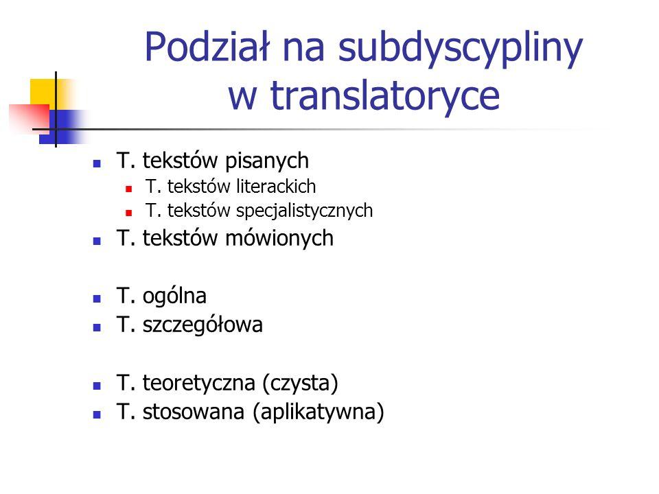 Podział na subdyscypliny w translatoryce T. tekstów pisanych T. tekstów literackich T. tekstów specjalistycznych T. tekstów mówionych T. ogólna T. szc