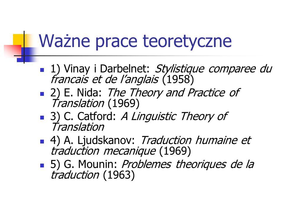 Ważne prace teoretyczne 1) Vinay i Darbelnet: Stylistique comparee du francais et de l'anglais (1958) 2) E. Nida: The Theory and Practice of Translati