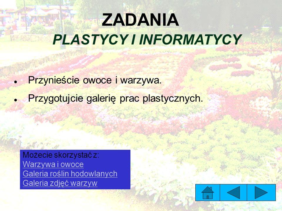 ZADANIA PLASTYCY I INFORMATYCY Przynieście owoce i warzywa.