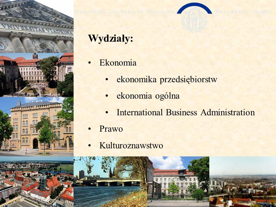 Wydziały: Ekonomia ekonomika przedsiębiorstw ekonomia ogólna International Business Administration Prawo Kulturoznawstwo