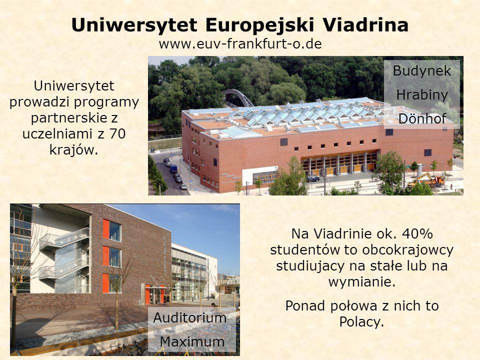 Uniwersytet Europejski Viadrina www.euv-frankfurt-o.de Auditorium Maximum Budynek Hrabiny Dönhof Uniwersytet prowadzi programy partnerskie z uczelniami z 70 krajów.