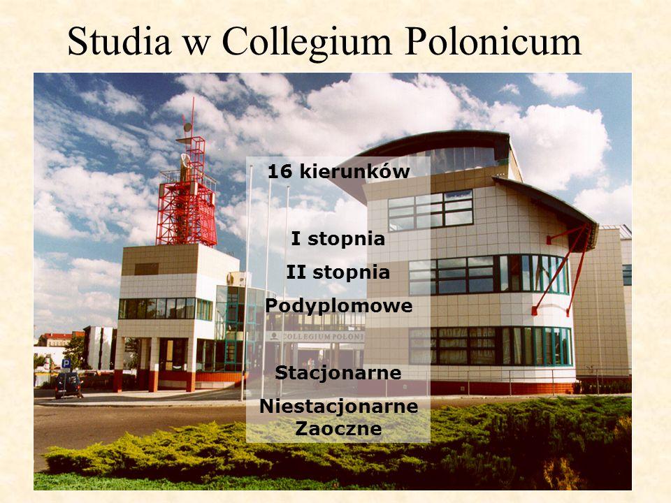Studia w Collegium Polonicum 16 kierunków I stopnia II stopnia Podyplomowe Stacjonarne Niestacjonarne Zaoczne