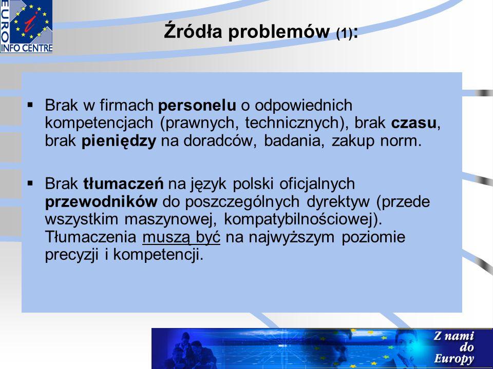 Źródła problemów (1) :  Brak w firmach personelu o odpowiednich kompetencjach (prawnych, technicznych), brak czasu, brak pieniędzy na doradców, badan