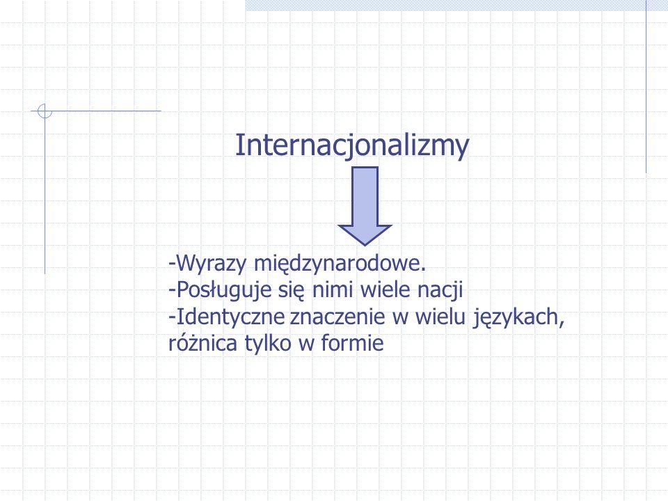 Internacjonalizmy -Wyrazy międzynarodowe. -Posługuje się nimi wiele nacji -Identyczne znaczenie w wielu językach, różnica tylko w formie