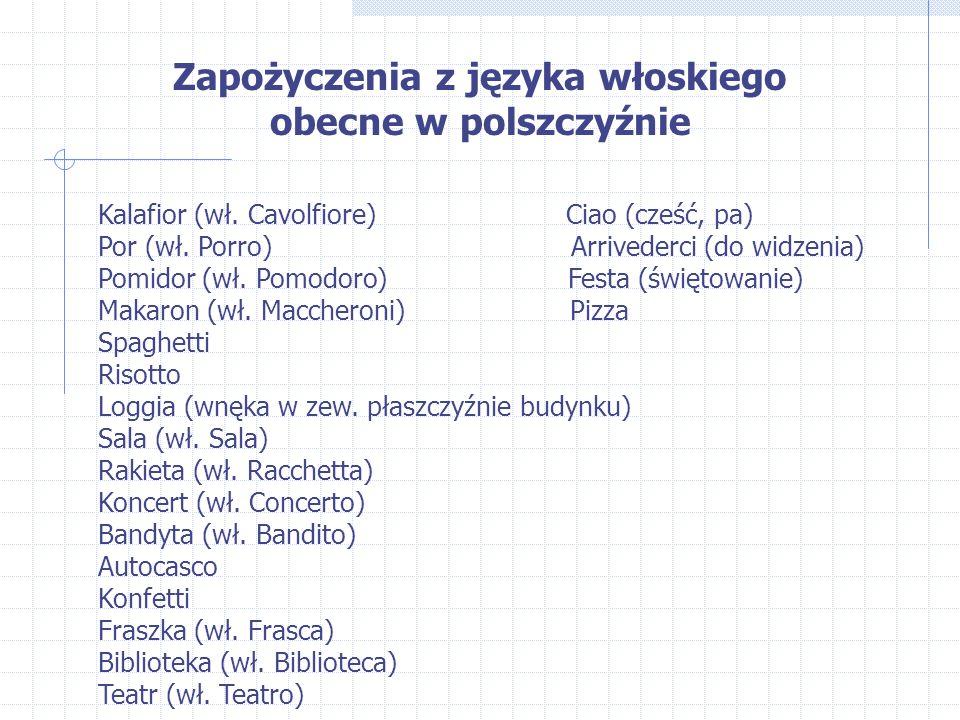 Zapożyczenia z języka włoskiego obecne w polszczyźnie Kalafior (wł.