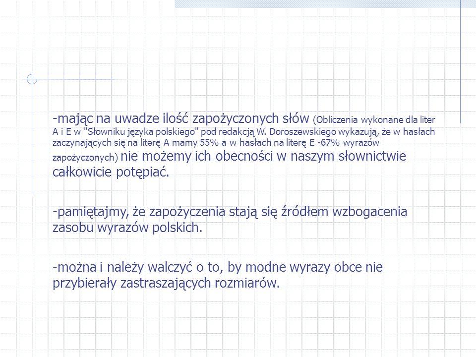 -mając na uwadze ilość zapożyczonych słów (Obliczenia wykonane dla liter A i E w Słowniku języka polskiego pod redakcją W.