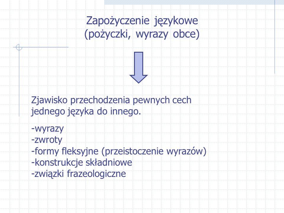 Zapożyczenie językowe (pożyczki, wyrazy obce) Zjawisko przechodzenia pewnych cech jednego języka do innego. -wyrazy -zwroty -formy fleksyjne (przeisto