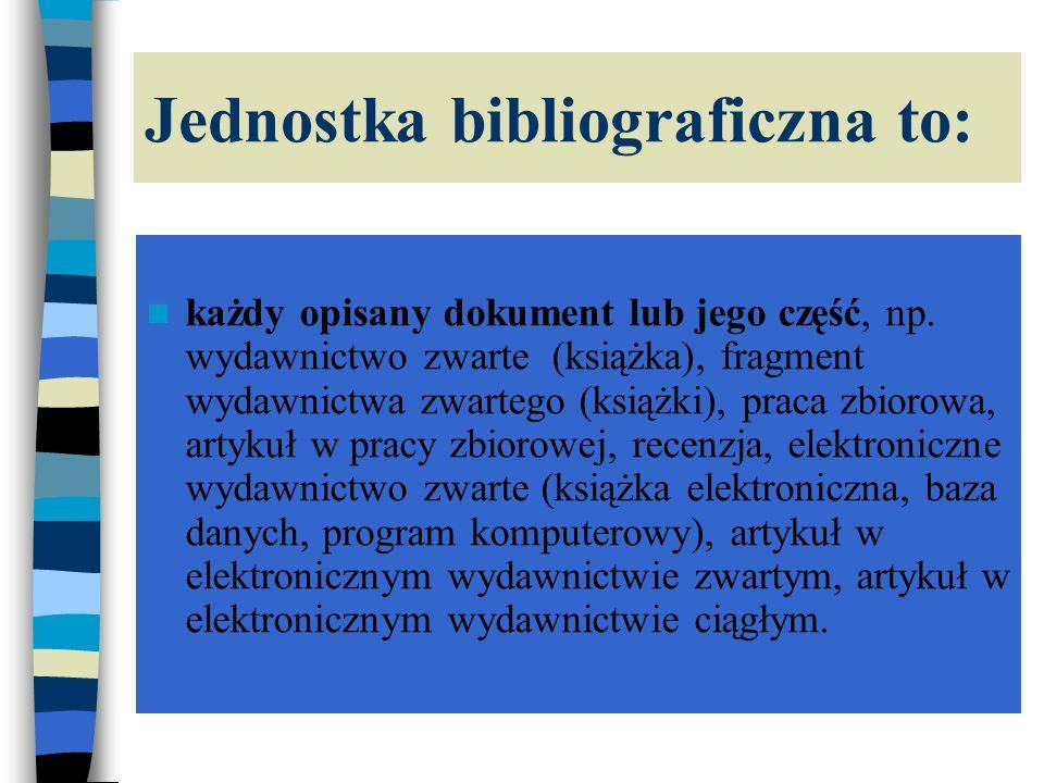 Opis elektronicznego wydawnictwa ciągłego Tytuł wydawnictwa [typ nośnika], Odpowiedzialność główna (redaktor nacz.), Miejsce wydania, Wydawca, częstotliwość ukazywania się, data dostępu, warunki dostępu, ISBN lub ISSN Przykłady: Encyklopedia multimedialna PWN [CD-ROM], red.