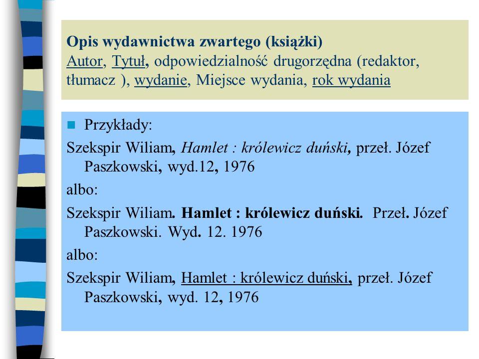 Wszystkie opisy w zestawieniu bibliograficznym podzielone są pod względem treści (bibliografia podmiotowa i przedmiotowa) i w obrębie tych podziałów szeregowane są alfabetycznie według nazwiska autora bądź tytułu lub chronologicznie.