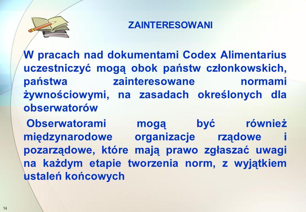 Obecnie członkami Komisji Kodeksu Żywnościowego FAO/WHO jest:  180 państw  w tym Wspolnota Europejska, a także Polska 13 KOMISJA KODEKSU ŻYWNOŚCIOWEGO